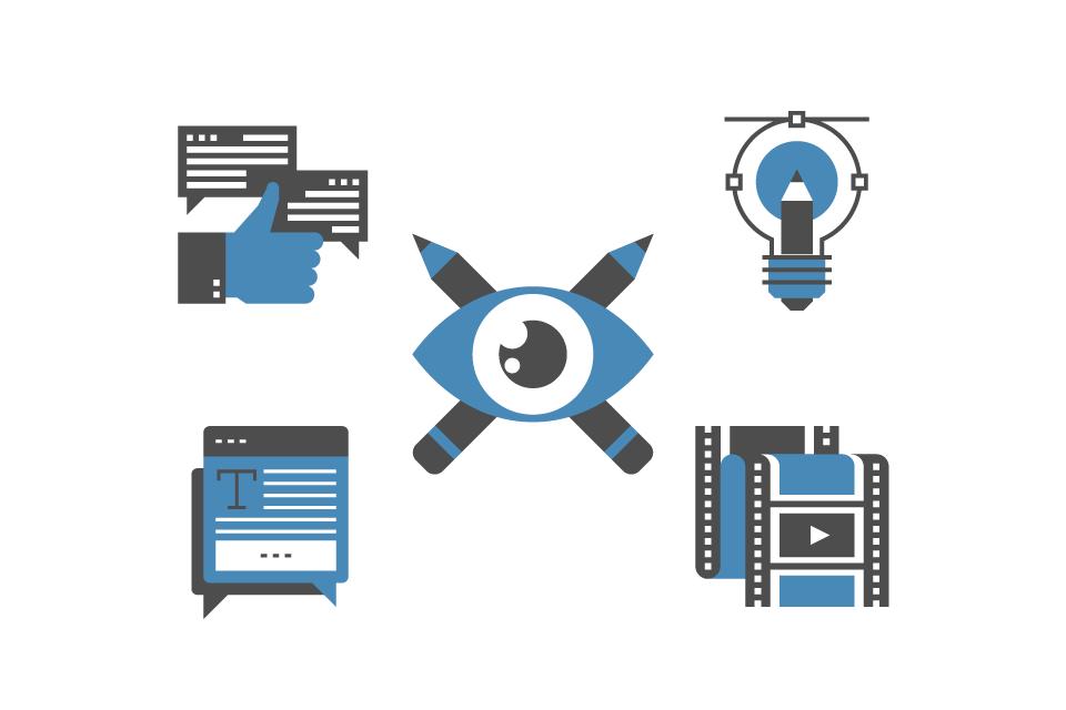 Erstellung von Websiteinhalten (Text, Infografiken, Fotografie, Videos)
